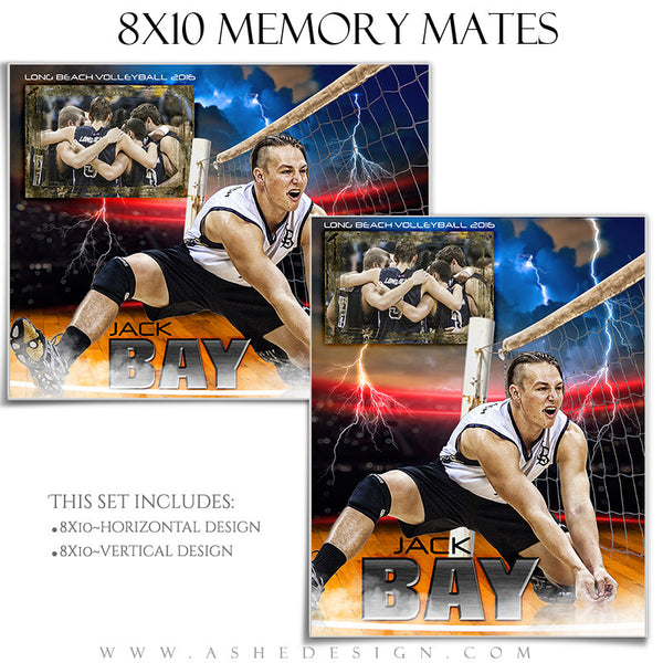 Ashe Design | 8x10 Memory Mate | Photoshop Templates | Lightning Strikes Volleyball
