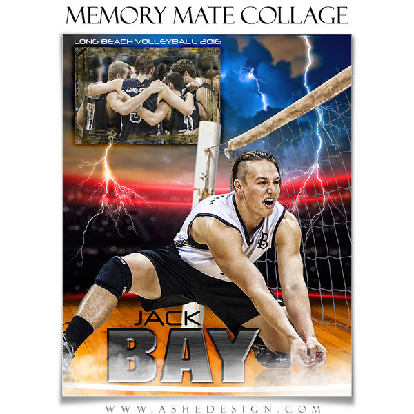 Ashe Design | 8x10 Memory Mate | Photoshop Templates | Lightning Strikes Volleyball vt