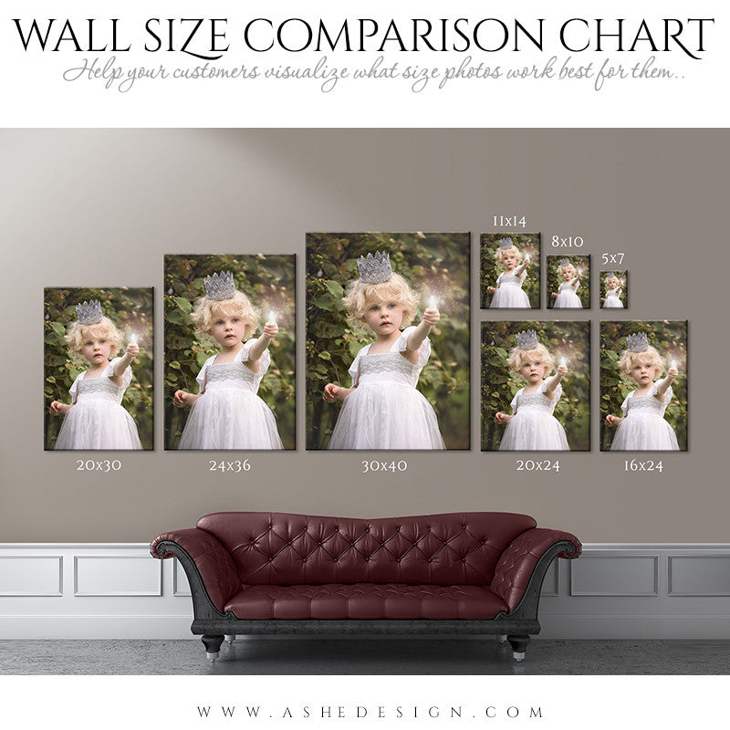 Ashe Design | Wall Display Guides | Size Comparison Chart - Portrait