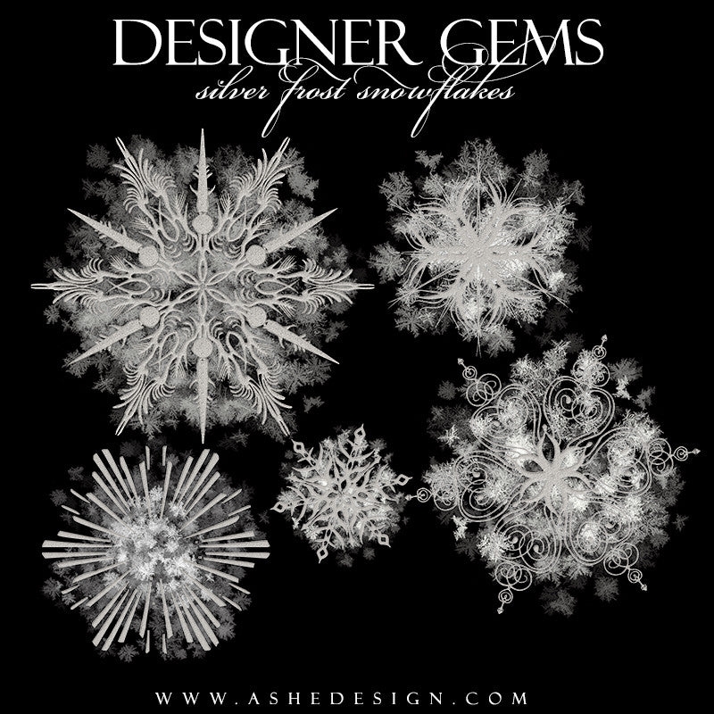 Designer Gems Overlays | Silver Frost Snowflakes