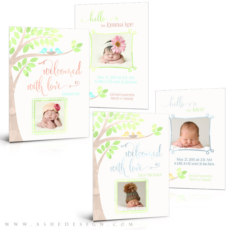 Birth Announcement Set | Watercolor Baby Emma/Jace