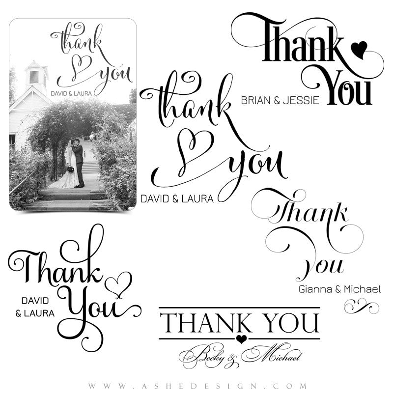 Customizable Photoshop Word Art | Thank You full set
