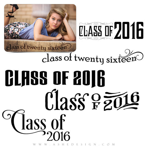 Customizable Photoshop Word Art | Class Of 2016 Swirls set