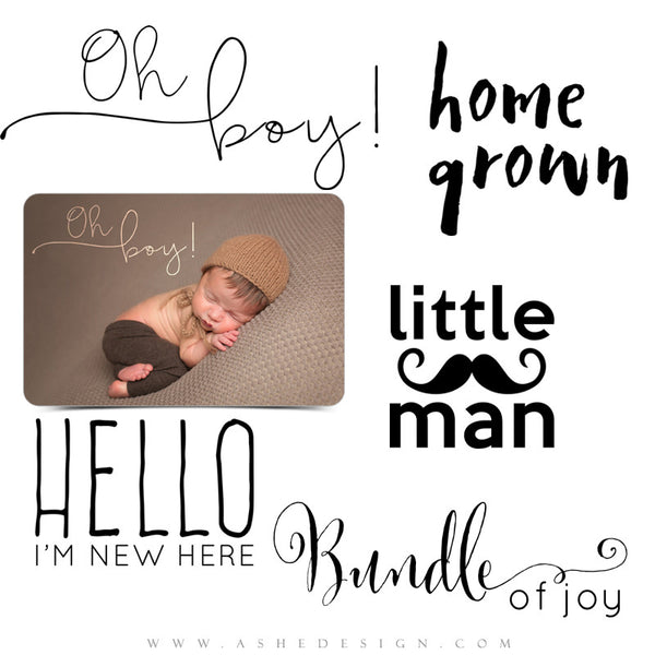 Newborn Photoshop Word Art | Little Man full set