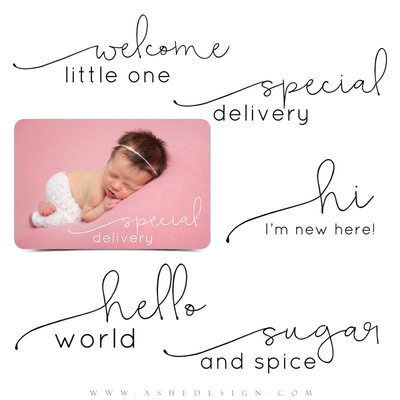 Newborn Photoshop Word Art | Special Delivery full set