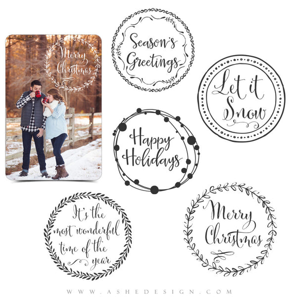 Photoshop Christmas Word Art Set | Holiday Wreaths