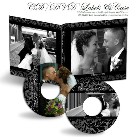 CD/DVD Label & Case Set | Classic Black & White