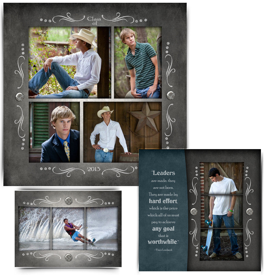 Collage Template Set 1 | Chalkboard Senior Boy