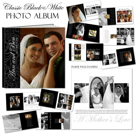 Ashe Design | Photo Book Template 10x10 | Classic Black & White