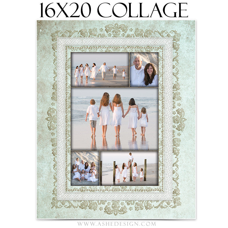 Family Collage 16x20 | Tiffany Damask