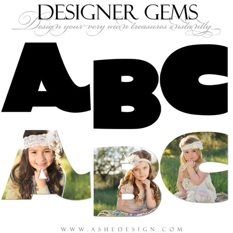 Ashe Design | Designer Gems for Photoshop | Chunky Alphabet Photo Masks