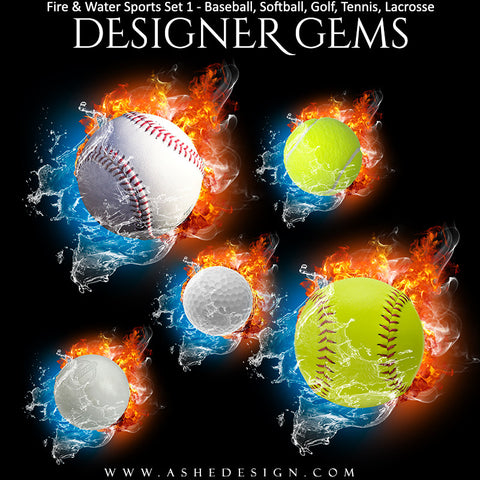 Ashe Design | Sports Photo Overlays | Fire Water | Sports Balls | Set 1