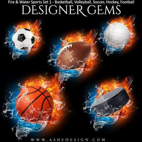 Ashe Design | Sports Photo Overlays | Fire Water | Sports Balls | Set 2