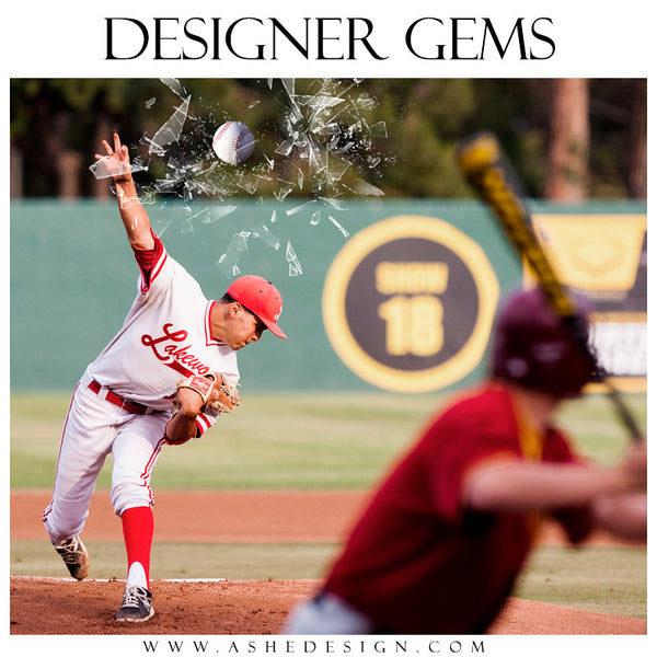 Ashe Design | Digital Overlays | Shattered Sports Elements baseball