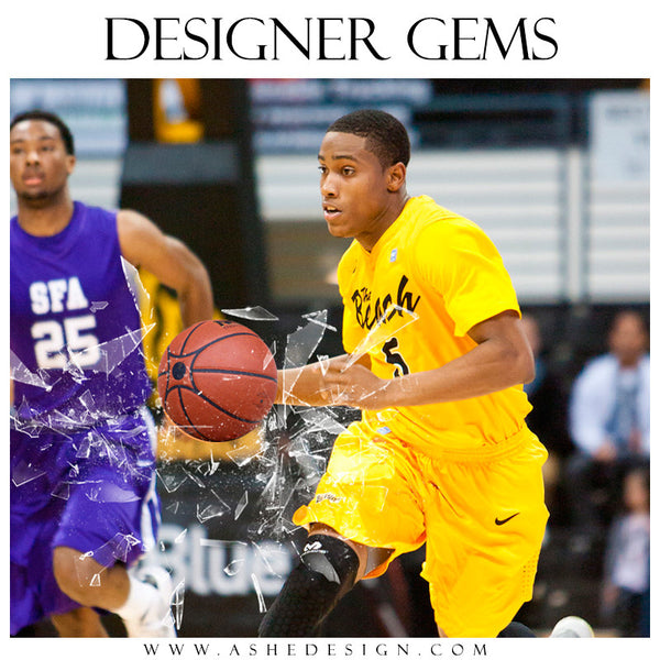 Ashe Design | Digital Overlays | Shattered Sports Elements basketball