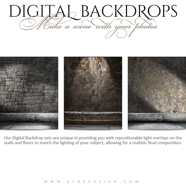 Digital Props 16x20 Backdrops | Brick And Rock full set