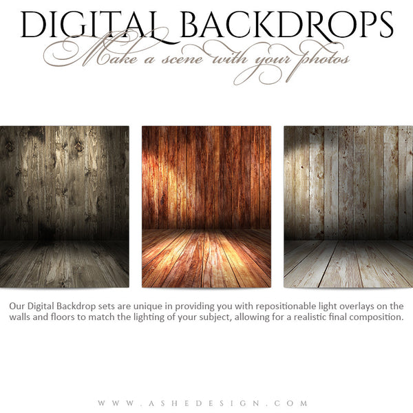 Digital Props 16x20 Backdrops | Wooden full set