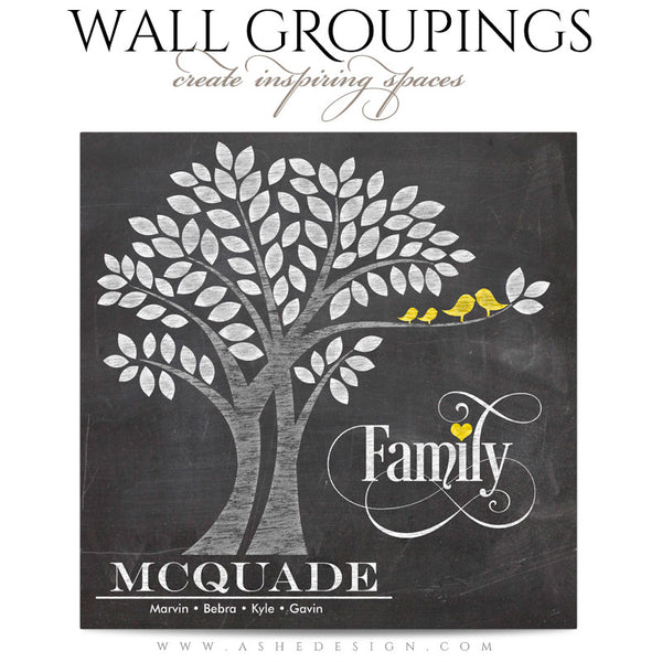 Wall Groupings Photography Templates | Family Tree Pinwheel word art