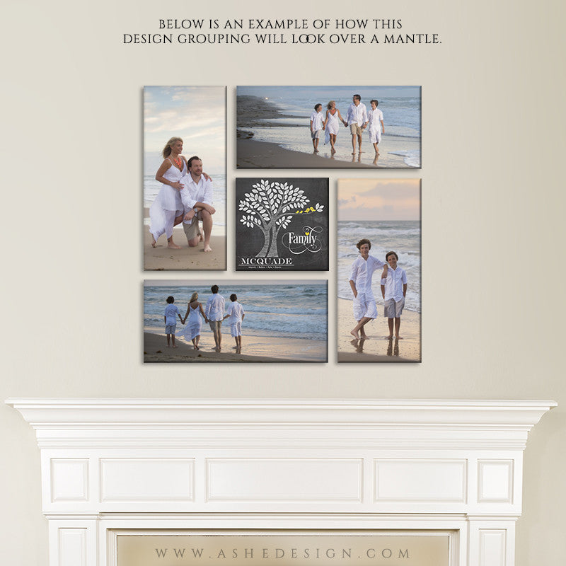 Wall Groupings Photography Templates | Family Tree Pinwheel