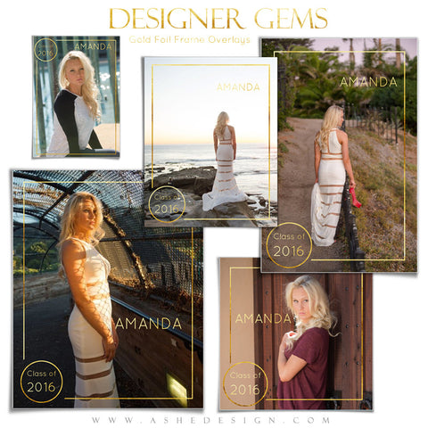 Customizable Designer Gems | Gold Foil Frame Overlays Set1