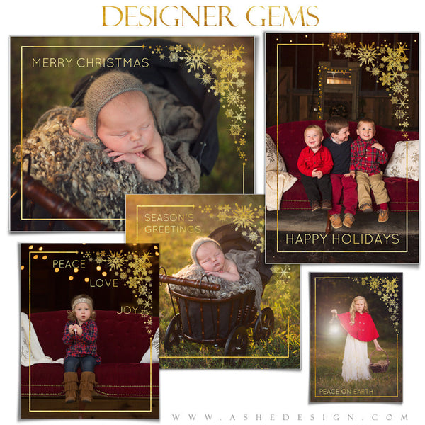 Customizable Designer Gems | Golden Snowflake Frame Overlays