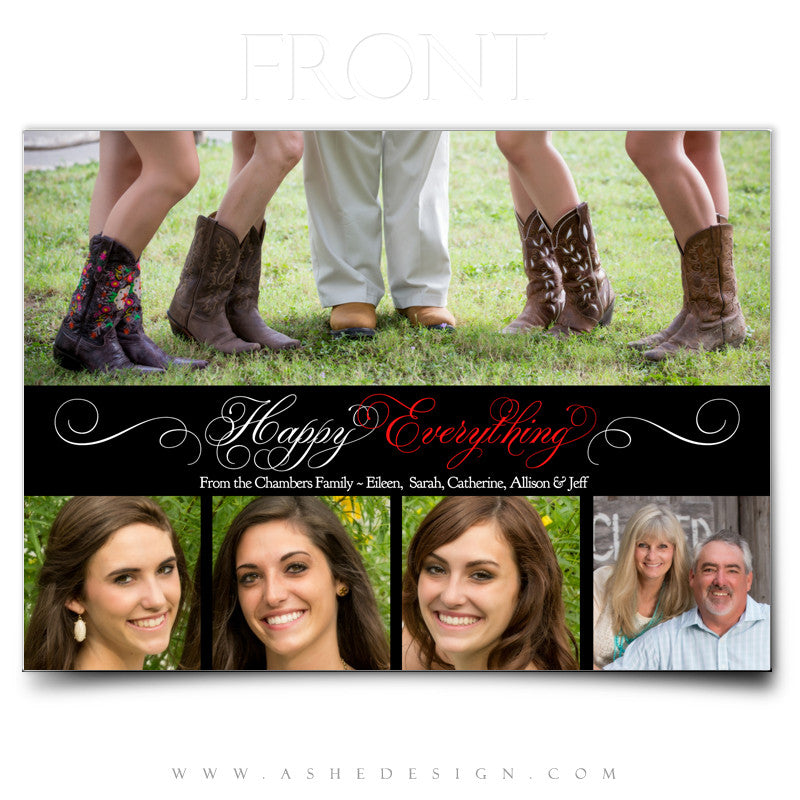 Christmas Card Photography Template Happy Everything AsheDesign - Christmas card templates for photographers