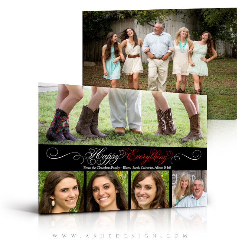 Christmas Card Photography Template - Happy Everything Design