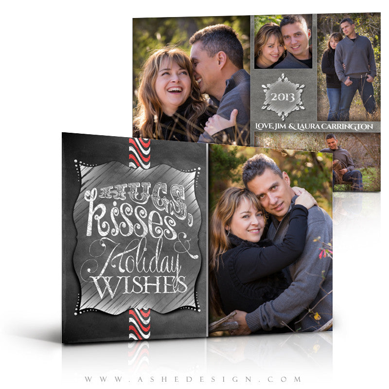5x7 Flat Christmas Card - Chalkboard Hugs & Kisses