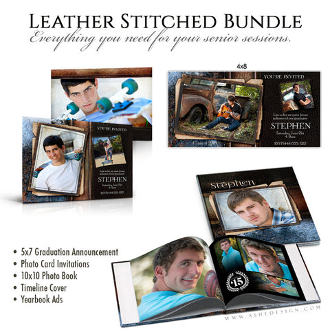 Leather Stitched Senior Template Bundle