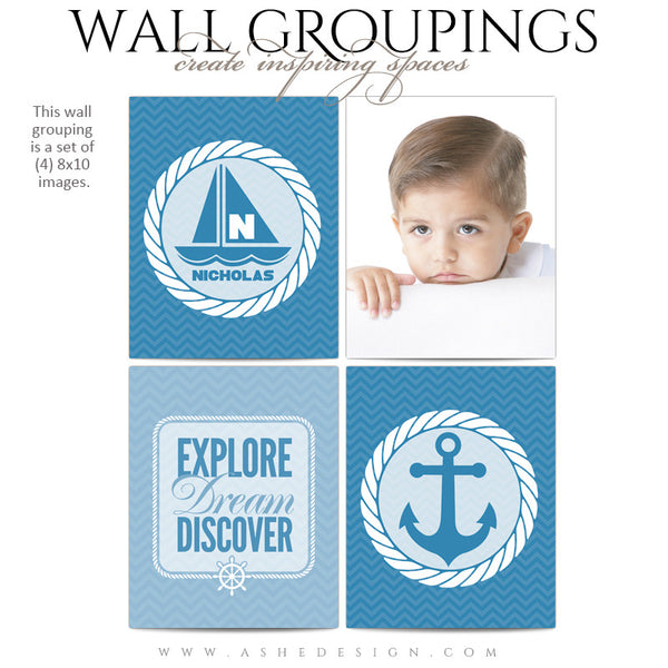 Wall Groupings Children Photography Templates | Nautical Theme full set