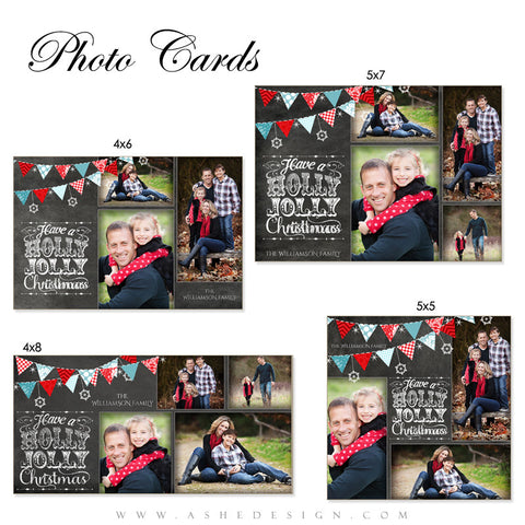 Christmas Photo Card Set - Chalkboard Holly Jolly Christmas