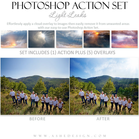 Photoshop Action | Cloud Overlays - Light Leaks