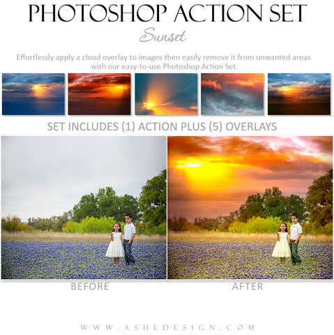 Photoshop Action | Cloud Overlays - Sunset