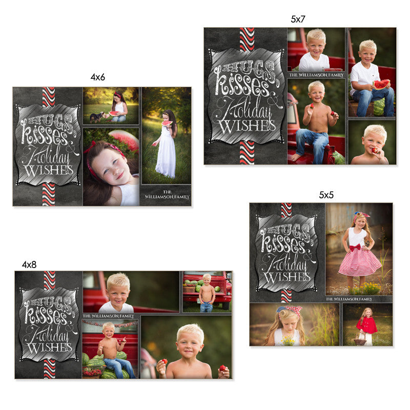 Christmas Photo Card Set | Chalkboard Hugs & Kisses