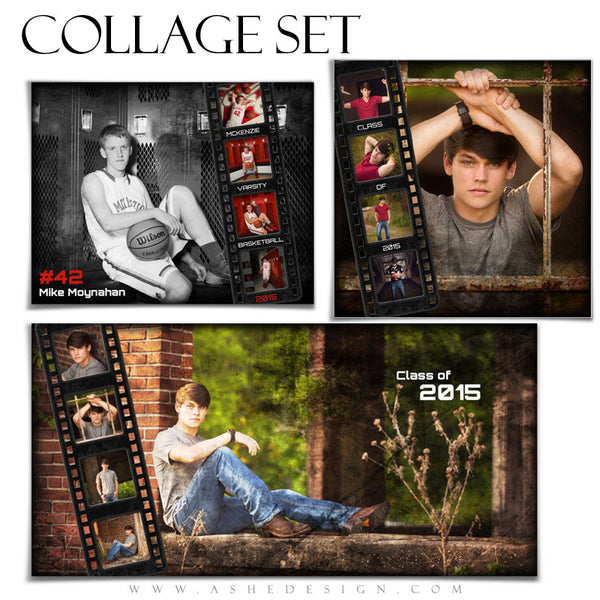senior photo collage templates - sports seniors collage set film strip grunge ashedesign