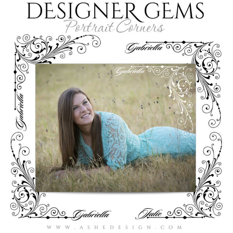 Customizable Designer Gems Portrait Corners for Photoshop | Curly Corners