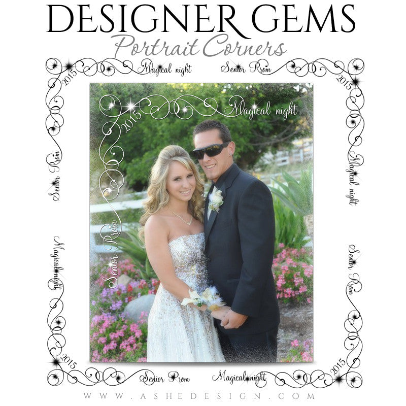 Customizable Designer Gems Portrait Corners for Photoshop | Prom Night