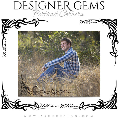 Customizable Designer Gems Portrait Corners for Photoshop | Tribal Senior