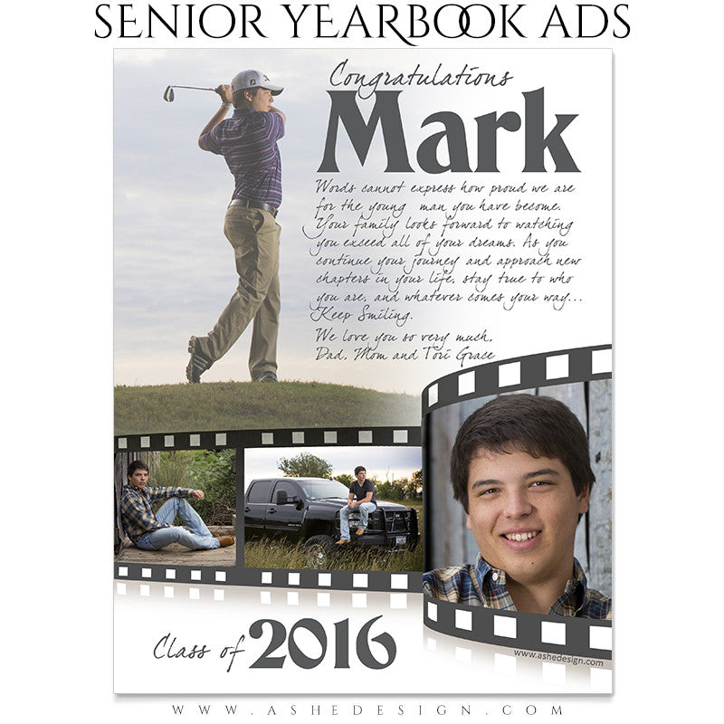 Senior Yearbook Ads for Photoshop | Film Strip full pg