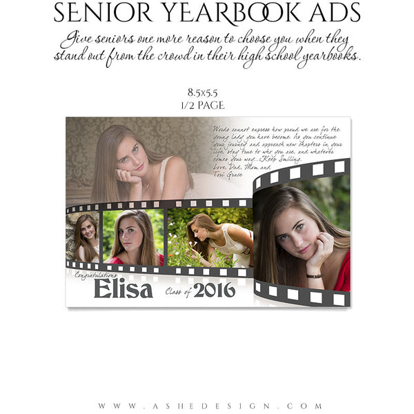Senior Yearbook Ads for Photoshop | Film Strip half pg