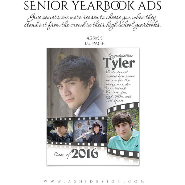 Senior Yearbook Ads for Photoshop | Film Strip quarter pg