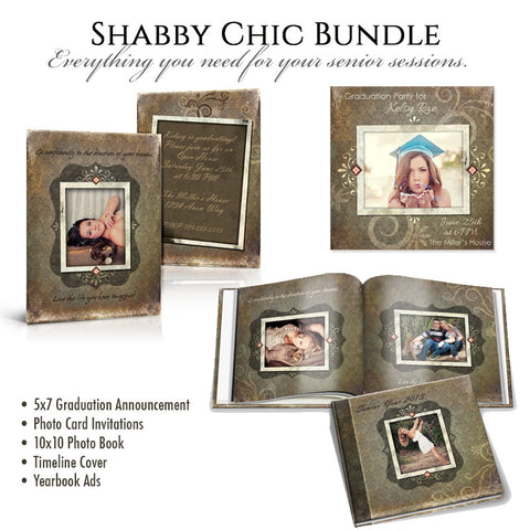 Shabby Chic Senior Template Bundle