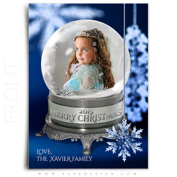 Christmas Card Photoshop Templates | Snow Globe - Snowflakes front