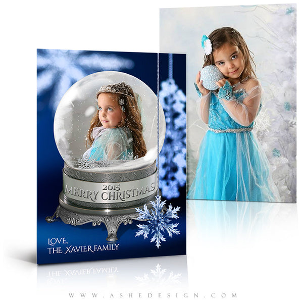 Christmas Card Photoshop Templates | Snow Globe - Snowflakes