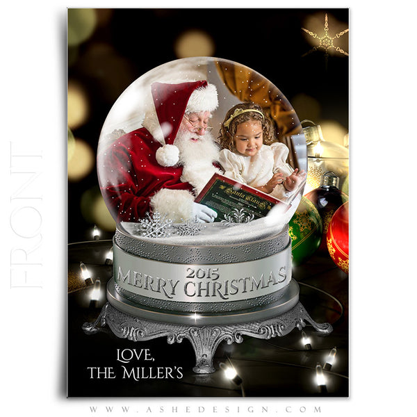 Christmas Card Photoshop Templates | Snow Globe - All The Lights front