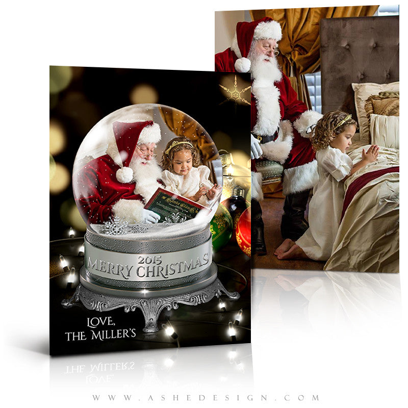 Christmas Card Photoshop Templates | Snow Globe - All The Lights