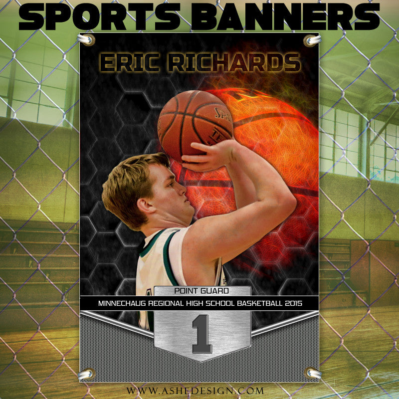 Amped Sports Banner 24x36 | Great Balls Of Fire Basketball