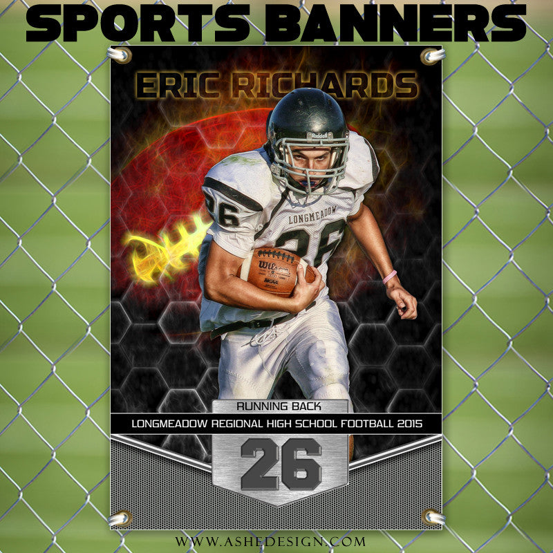 Amped Sports Banner 24x36 - Great Balls Of Fire Football