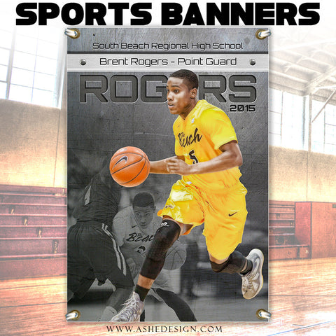 Amped Sports Banner 24x36 | Center Of Attention Engraved Metal bktb