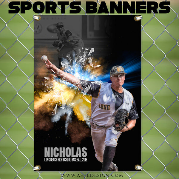 Ashe Design | Photoshop Templates | 2x3 Sports Banner | Baseball